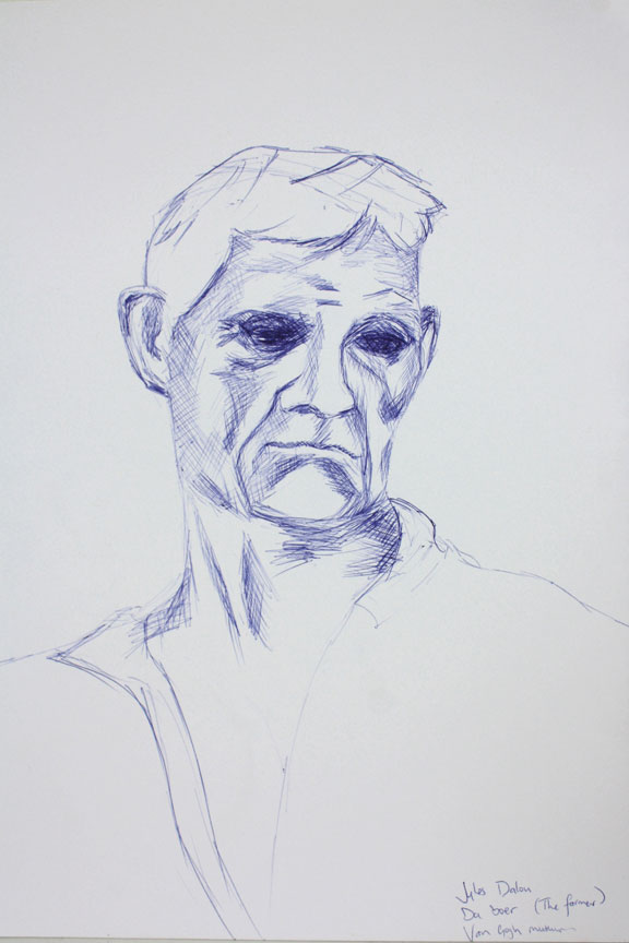 Jules Dalou da boer the farmer blue pen sketch drawing Amsterdam