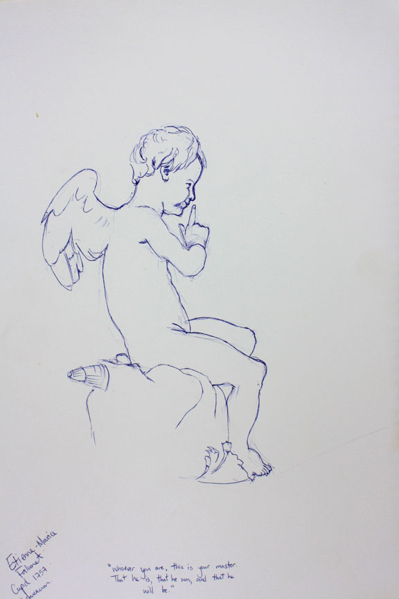 Etienne-Maurice Falconet's cupid blue pen sketch drawing Amsterdam