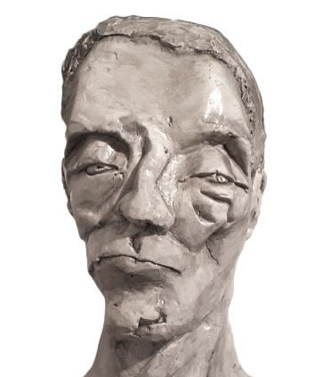 Plaster portrait sculpture broken nose male figure squinted eyes scarred sunken-in face