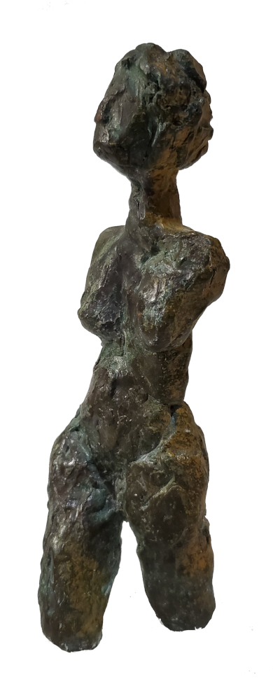 walking woman bronze sculpture patina female figure abstracted texture dark greens