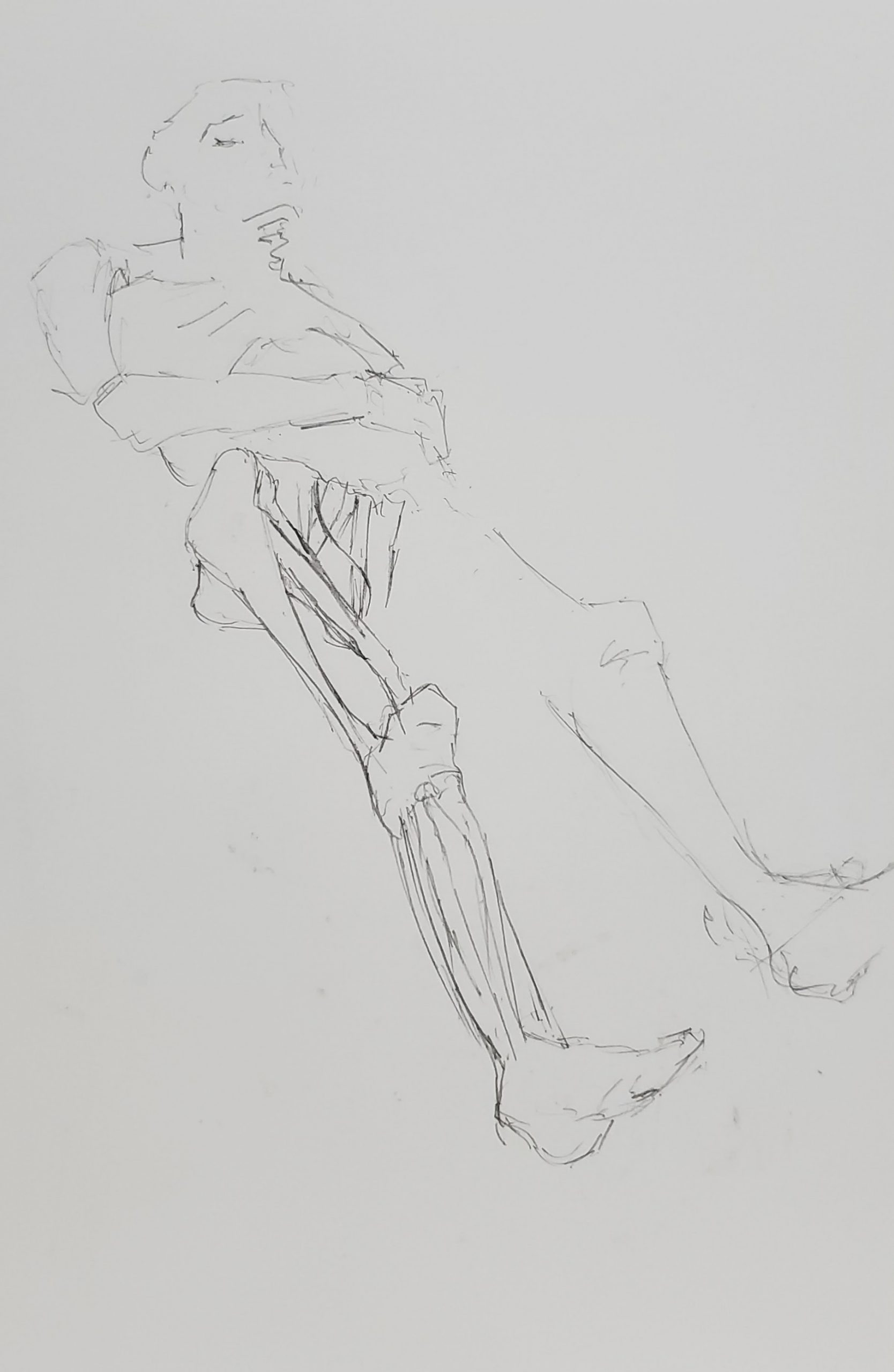 anatomy drawing of reclining male leg muscle black and white grey pencil graphite