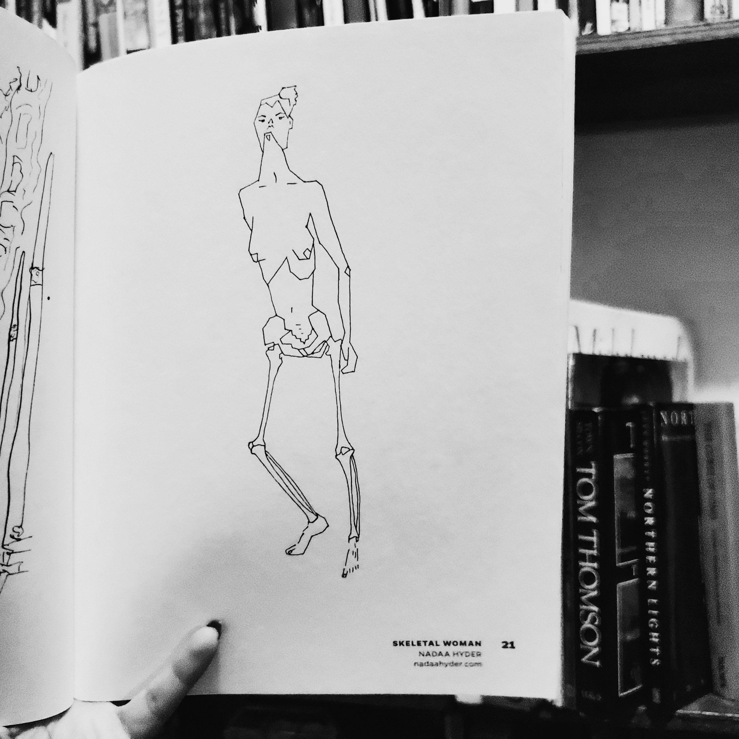 Skeletal Woman Nadaa Hyder Akin Collective Artist Colouring Book